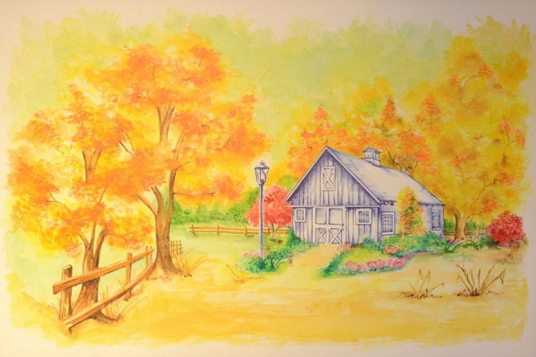 Barn Watercolor Painting by Jerson Antao