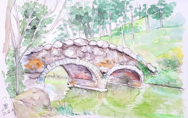 Bridge Watercolor Landscape Painting by Emaan Imtiaz