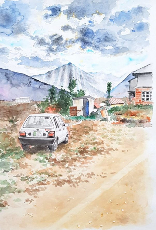 Car and House Watercolor Painting by Emaan Imtiaz
