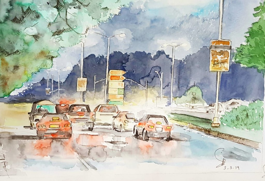 Cars In Street Watercolor Painting by Emaan Imtiaz