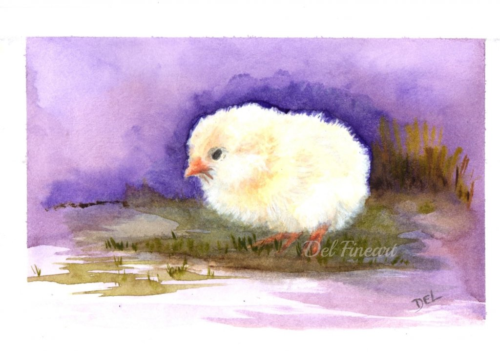 Chick Water Colour Painting by Del Fineart