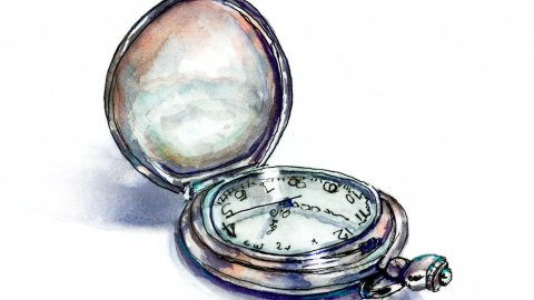Pocket Watch Clock Watercolor Illustration
