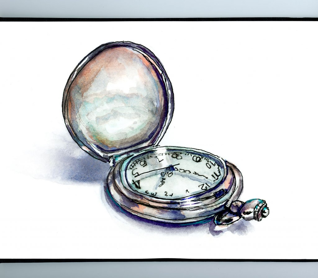 Pocket Watch Clock Watercolor Illustration Sketchbook Detail