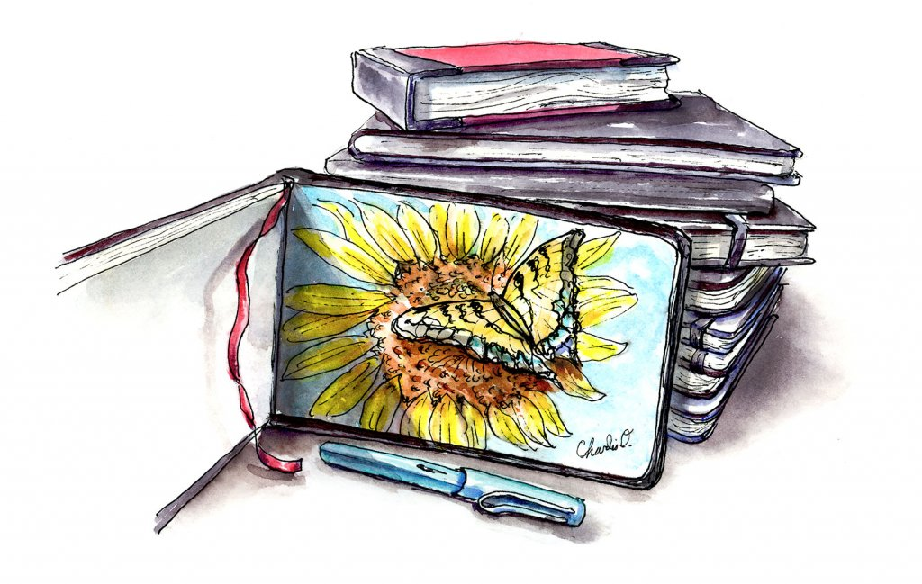 Sketcbooks Stack Sunflower Butterfly Illustration