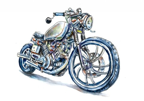 Vintage Motorcycle Watercolor Illustration