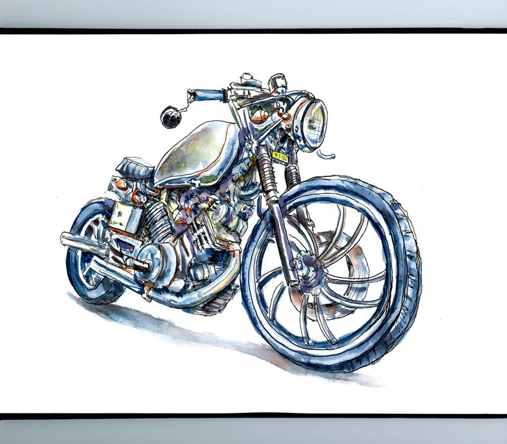 Vintage Motorcycle Watercolor Illustration Sketchbook Detail