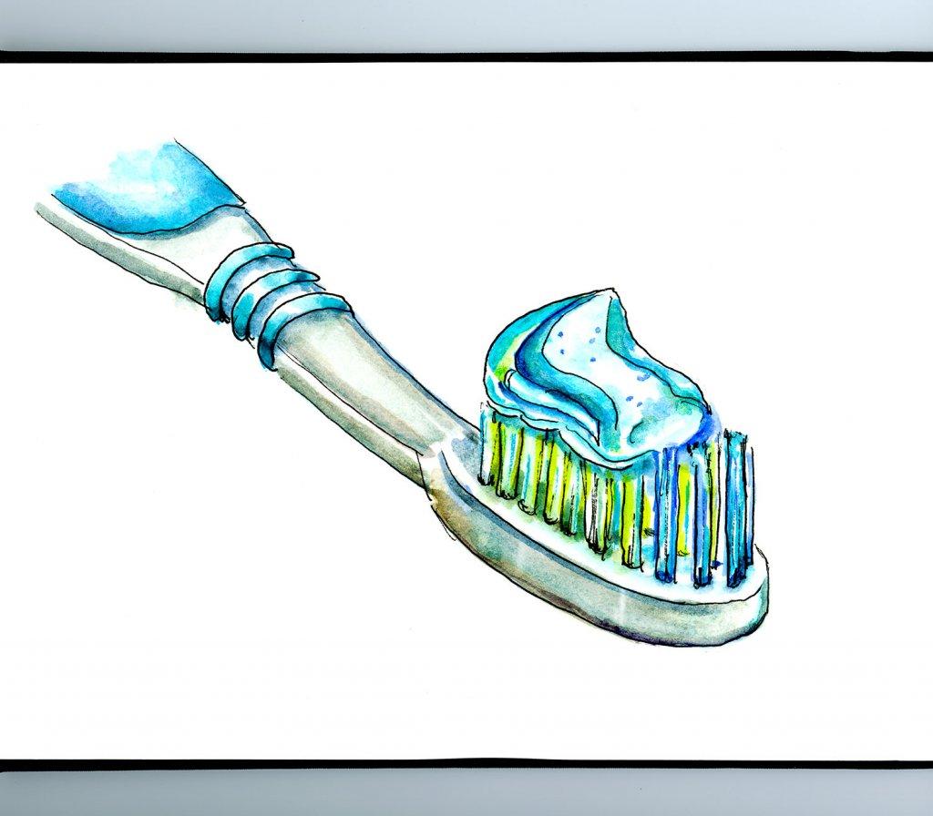 Toothbrush Toothpaste Illustration Sketchbook Detail