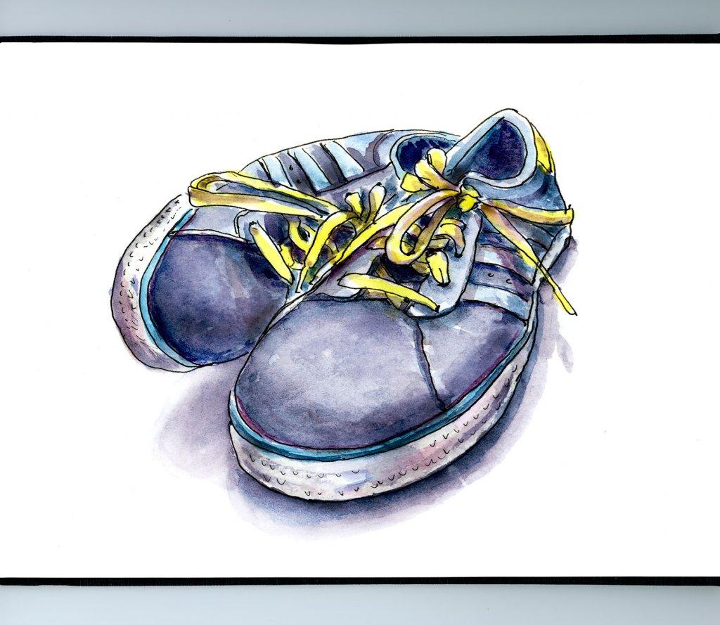 Tennis Shoes Watercolor Illustration Sketchbook Illustration