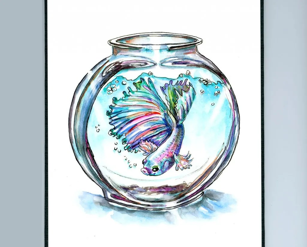 Betta Fish In Bowl Watercolor Illustration Sketchbook Detail