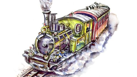 Steam Train Watercolor Illustration