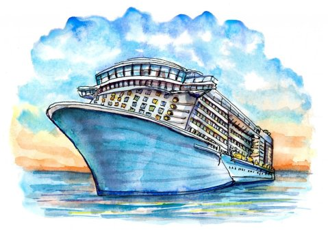 Cruise Ship Sunset Watercolor Illustration