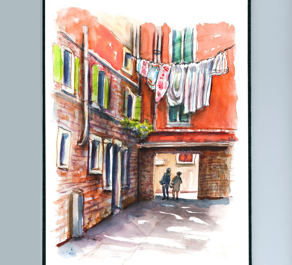 Clothes Hanging In Venice Watercolor Painting Sketchbook Detail