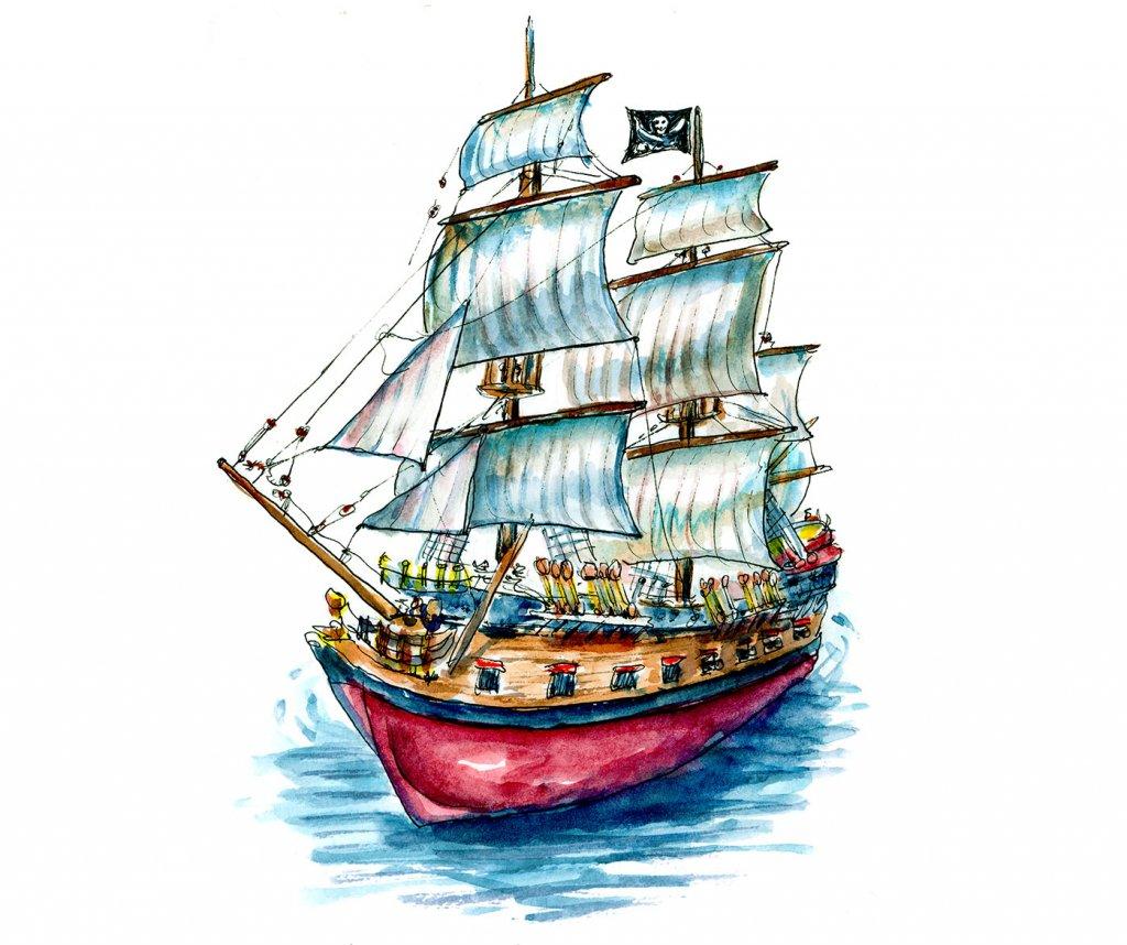 Pirate Ship Watercolor Illustration