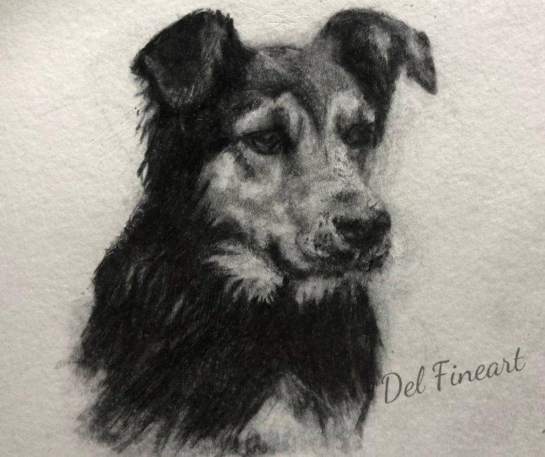 Dee Hunterway Pencil Drawing by Del Fineart