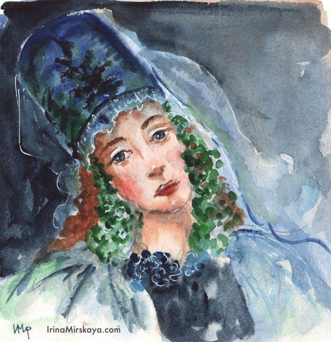 Woman Wearing Hat Watercolor Painting by Irina Mirskaya