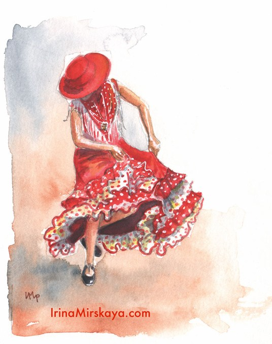 Woman Dancing Red Hat Watercolor Painting by Irina Mirskaya