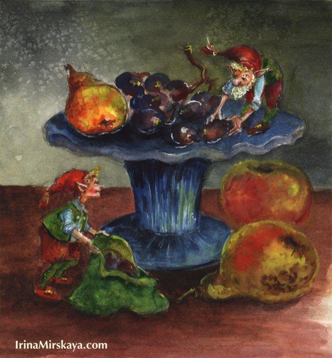 Gnomes Fruit Watercolor Painting by Irina Mirskaya