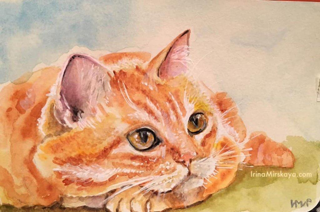 Yellow Tabby Cat Watercolor Painting by Irina Mirskaya