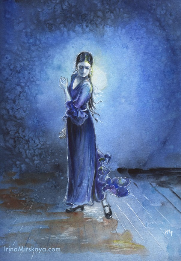 Woman Dancing Moonlight Watercolor Painting by Irina Mirskaya