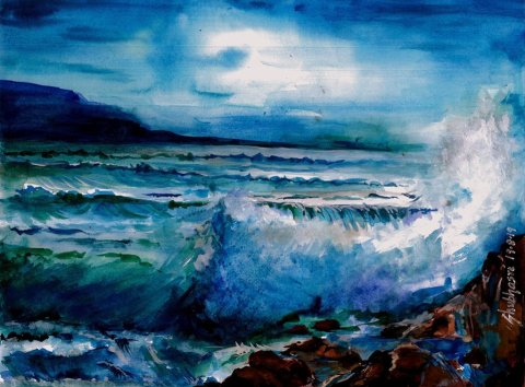 Waves Watercolour by Shubhasri Dasgupta