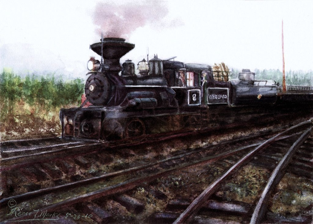 Steam Engine Train Watercolor Painting Renee Marks