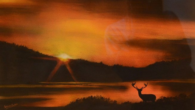 Sunset Watercolor Painting by Jerson Antao