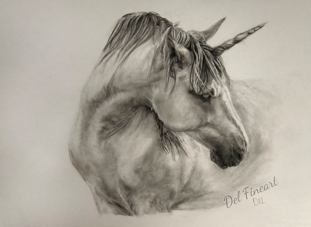 Unicorn Drawing Feature Image Del Fineart