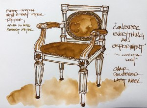 Ink painting with Robert Oster Toffee and Heart of Gold; a client\'s chair, delivered. W19 7 2