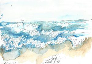 World Watercolor Month Day 23, Beach Fun. We were on the Oregon coast, but alas, I had to imagine se