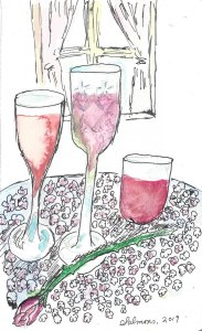 Still catching up with World Watercolor Month! For Day 25, Shades of pink, rose and rose! WWM_Day25