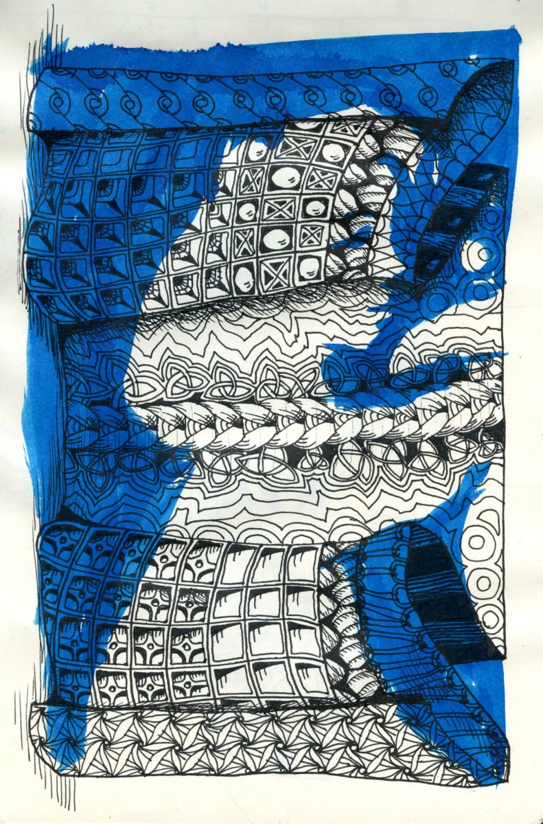 patterns zentangle art blue ink by Sandra Strait - Doodlewash