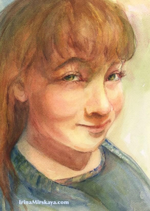 Young Girl Portrait Watercolor Painting by Irina Mirskaya