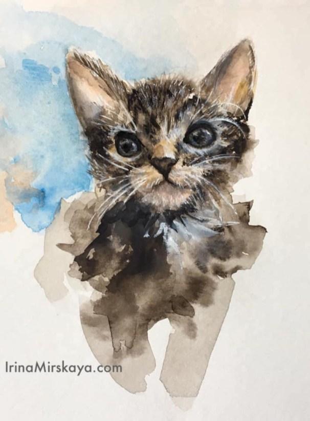 Kitten Watercolor Painting by Irina Mirskaya