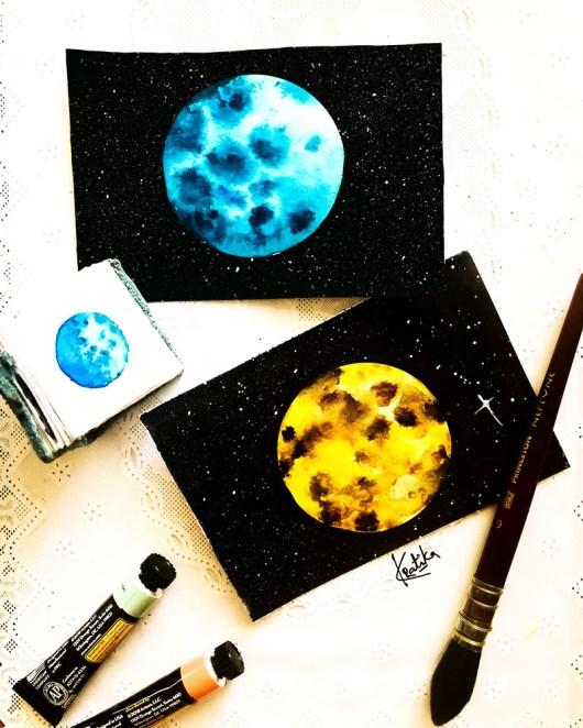 Blue and Yellow Moon Watercolor Paintings by Kratika Agarwal