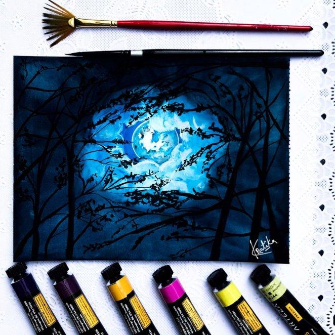 Night Moon Watercolor Painting by Kratika Agarwal