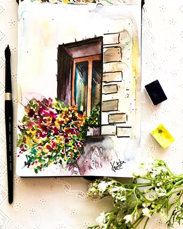 Window Watercolor Painting by Kratika Agarwal