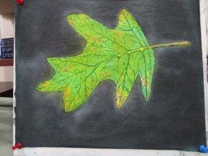 Oakleaf hydrangea leaf, painted on cotton fabric 072819a