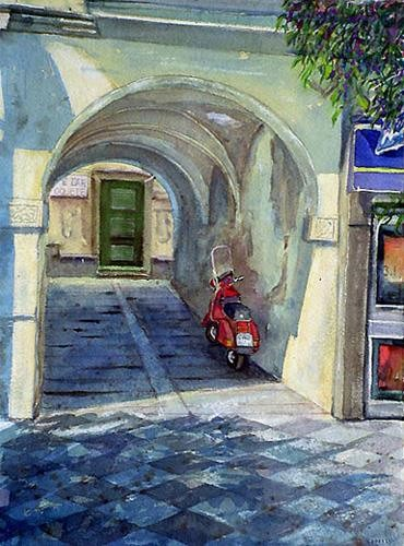 Red Vespa in madrid. 20″ x 16″ Watercolor on Arches cold press paper. 11045365_665699270