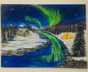 NORTHERN LIGHTS on Canvas!! My first attempt 🌌2B18BDA1-0C0F-4A17-B35B-A7B0C73A2EC5