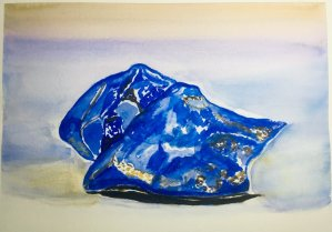 Day 17: gemstones. I\'m happy to paint with ultramarine color everyday. In the past, it\&#8217