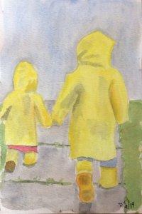 #doodlewashSeptember2019. Siblings in the rain 648F2FF4-6B66-4279-875D-9D101EAD4615