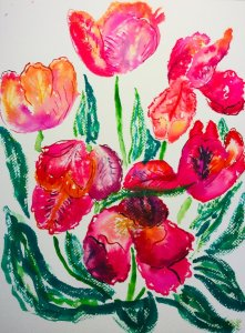 Avignon Parrot tulips from @sarahravensgarden painted in the manner of @keysincolor . Great way to e