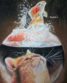 Cat Fish Bowl Watercolor by Stephanie Louise