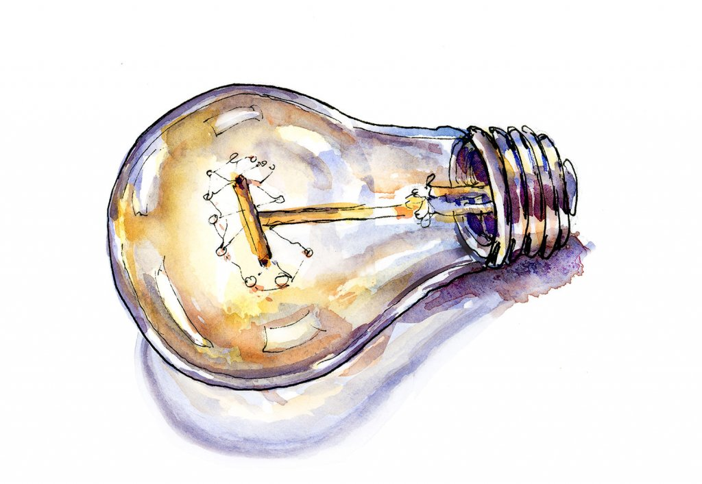 Light Bulb Watercolor Illustration