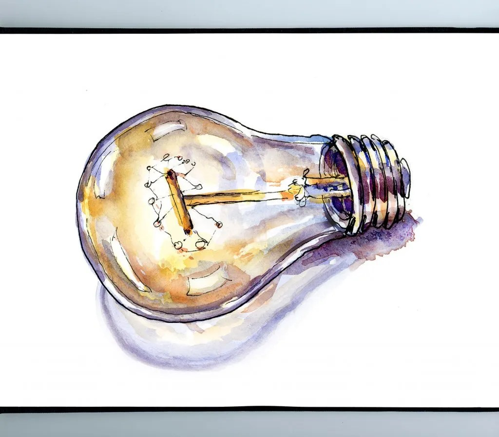 Light Bulb Watercolor Illustration Sketchbook Illustration