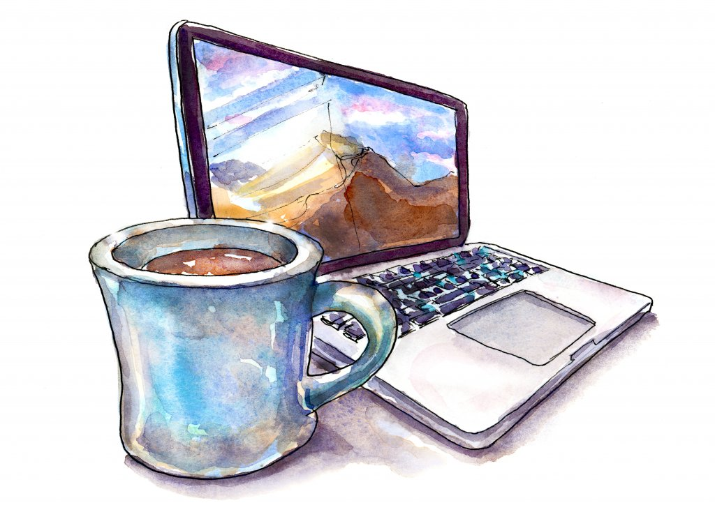 Laptop And Coffee Watercolor Illustration