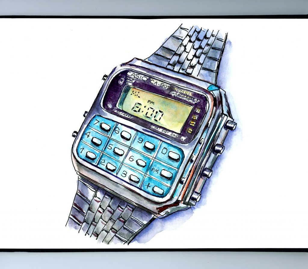 Calculator Watch Casio Watercolor Illustration Sketchbook Detail