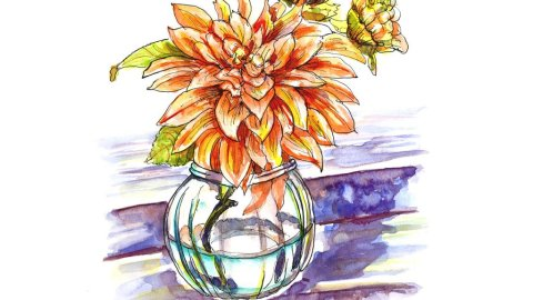 Flower Vase On Stairs Watercolor Illustration