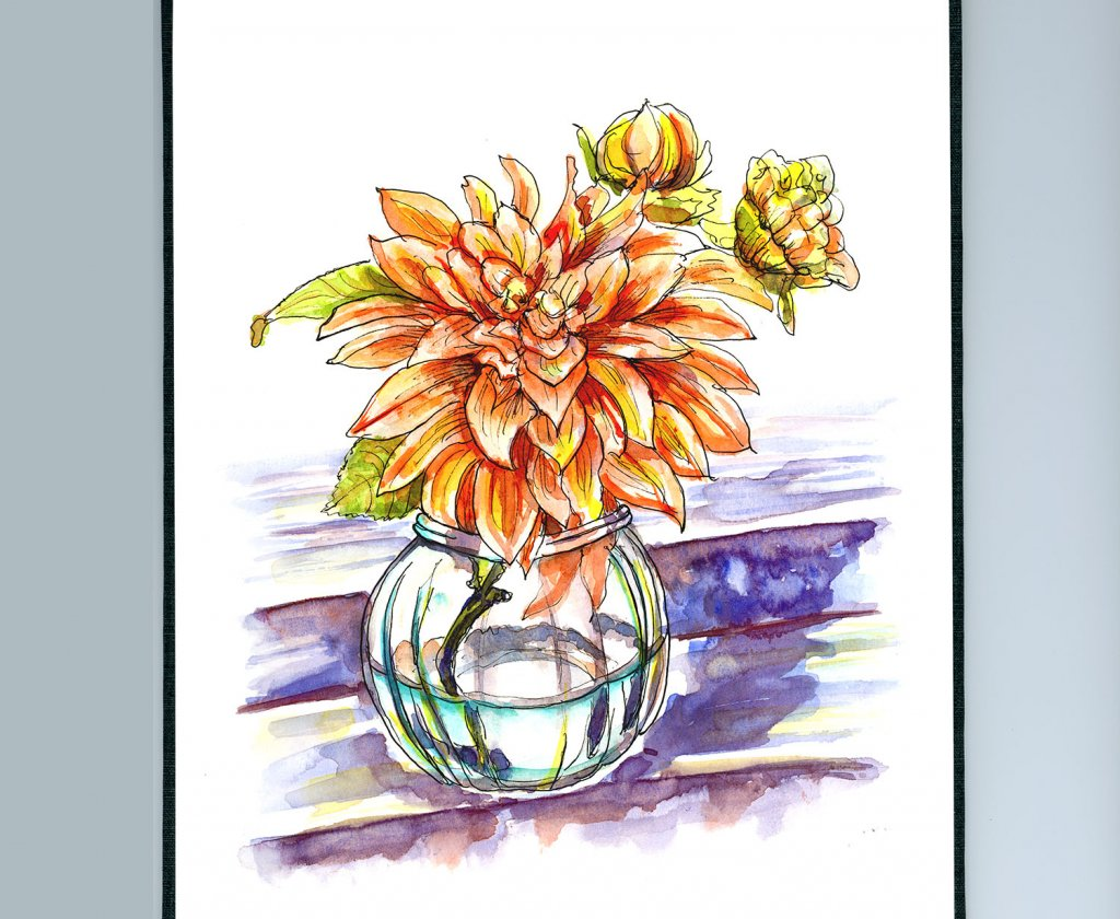 Flower Vase On Stairs Watercolor Illustration Sketchbook Detail