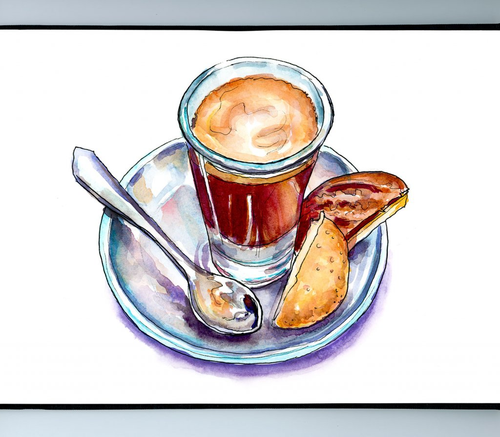 Coffee Cup Spoon Biscuits Illustration Sketchbook Illustration